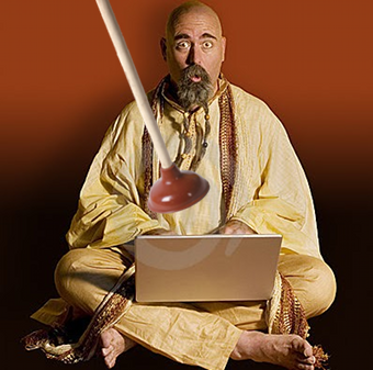 A bald white dude, in like, a Yoga Guru outfit, with a computer, and a plunger.