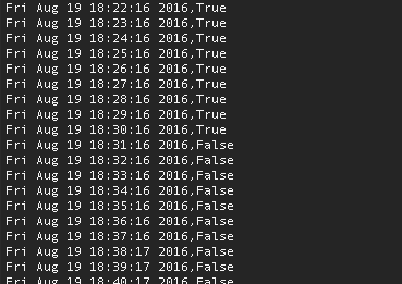 Screenshot of terminal data taken once a minute, timestamp comma true/false.  All of the early time stamps are true, then about halfway through they switch to all-false.