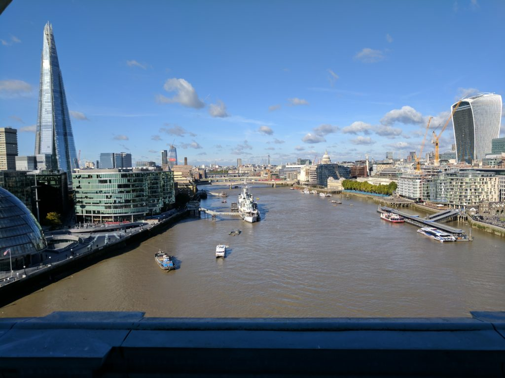 Looking out over the Thames from the observation deck of the Tower Bridge