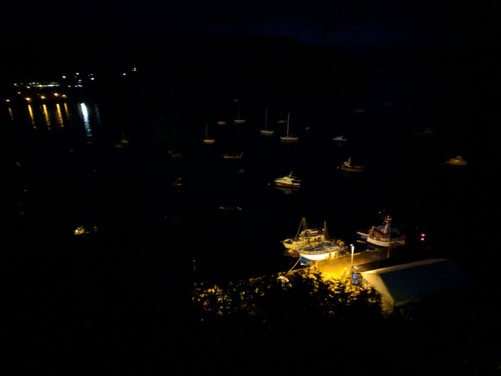 "Looking down at Portree from the tower on ""The Lump"" at night"