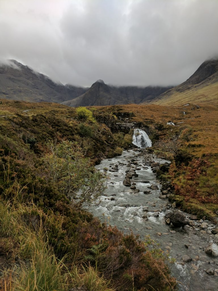 Some waterfalls along the trail at the Fairy Pools