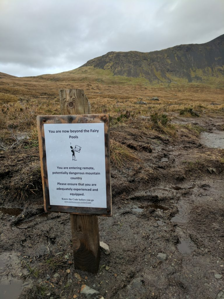 The end of the Fairy Pools trail