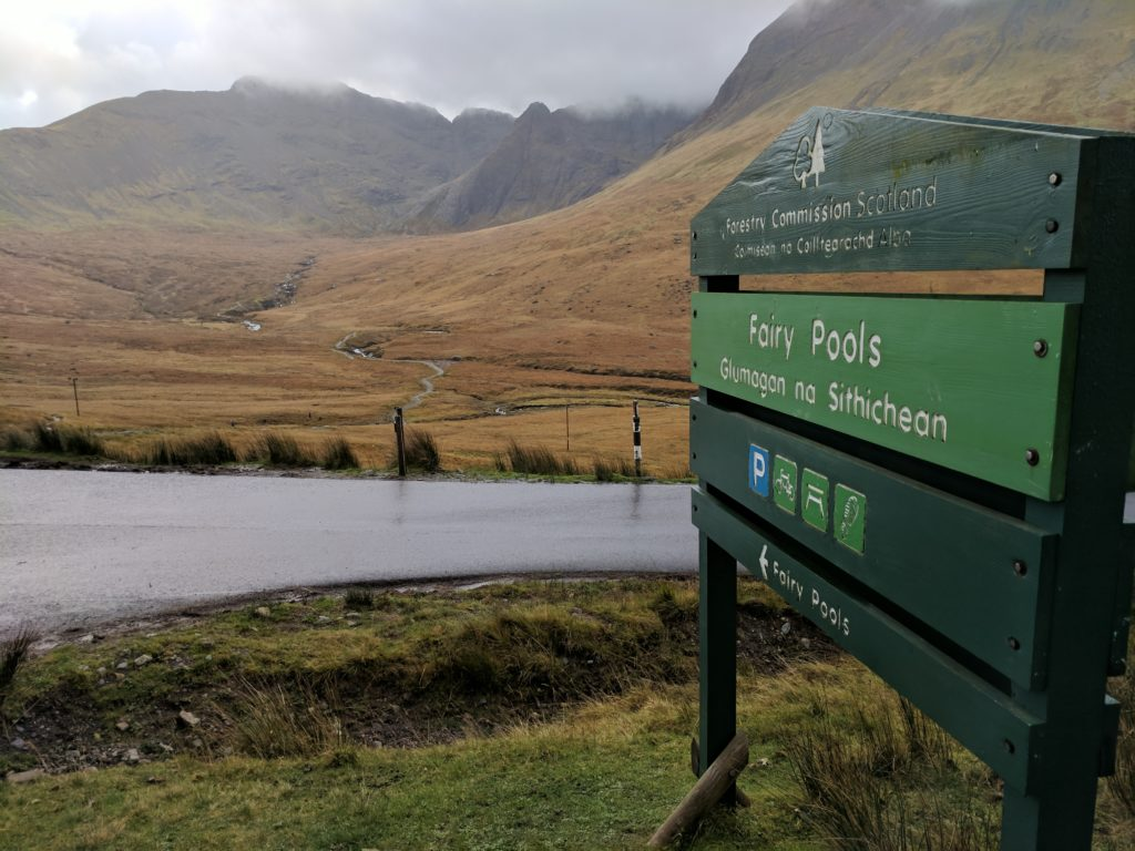 Sign showing you're at the Fairy Pools