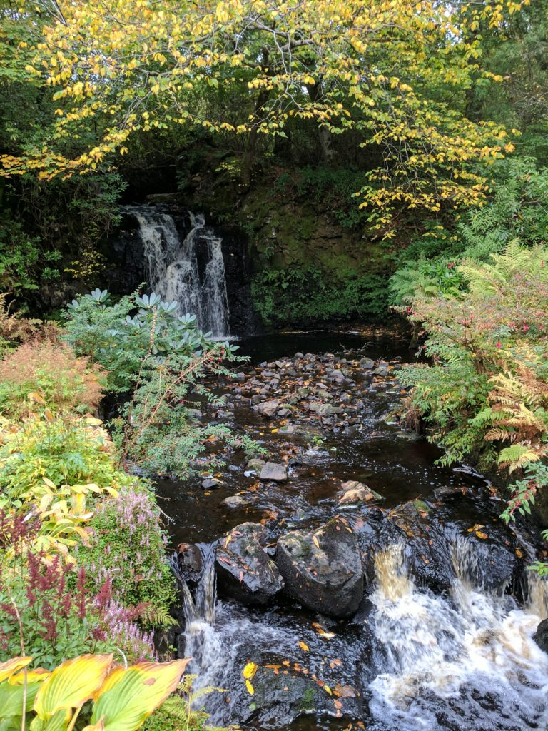 Part of a stream in a garden at Dunvegan Castle