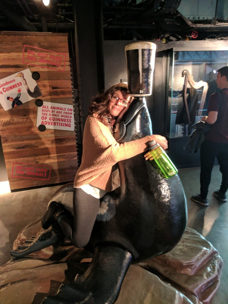 Sarah horsing around on the Guinness seal