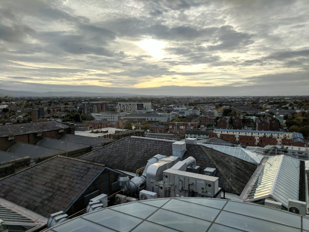 A view of Dublin from the top of the Guinness Brewery - looking out over rooftops