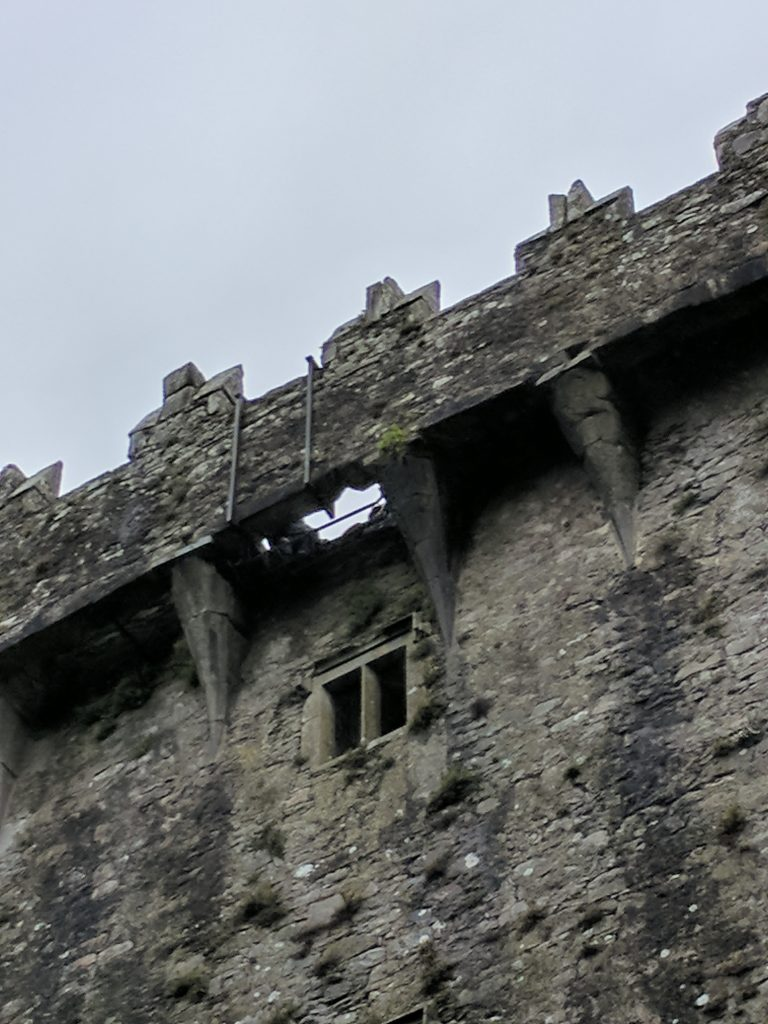 Looking up from the base of Blarney Castle at the Blarney Stone