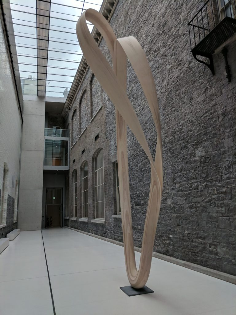 A large wooden sculpture in Dublin